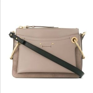 ROY SMALL LEATHER AND SUEDE SHOULDER BAG